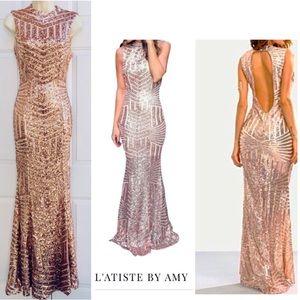Statement Art Deco Rose Gold Sequin Mermaid Gown S